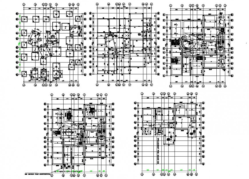 Foundation plan and all floors structure plan drawing details of villa dwg file