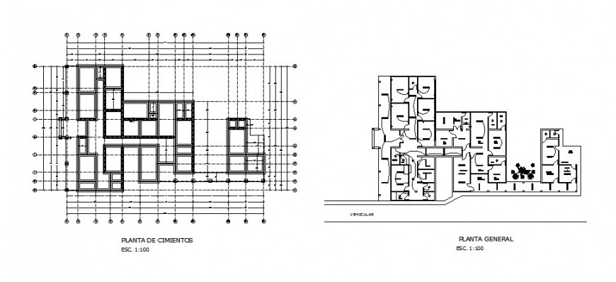 Foundation plan and general layout plan details of rural hospital dwg file