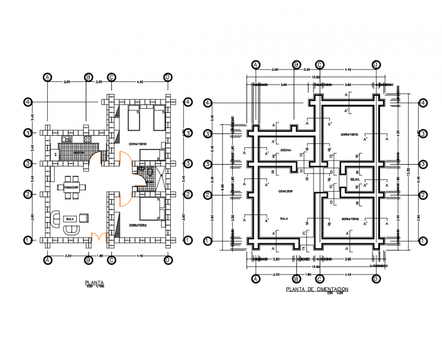 Foundation plan and layout plan details of single story house dwg file