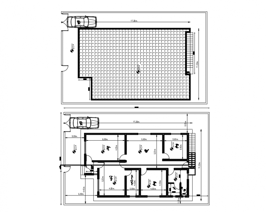 Foundation plan and layout plan details of square house dwg file