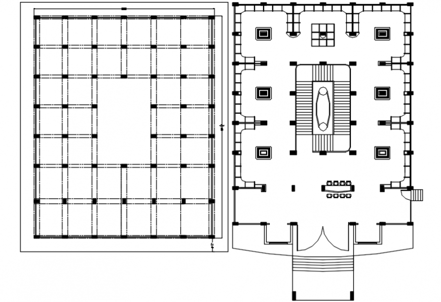 Foundation plan and layout plan structure details for restaurant dining hall dwg file