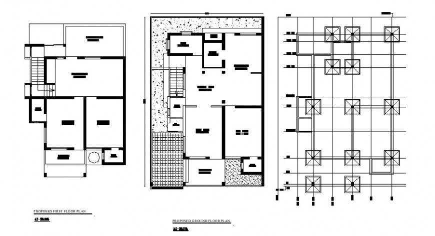Foundation plan and proposed ground and first floor plan details of house dwg file
