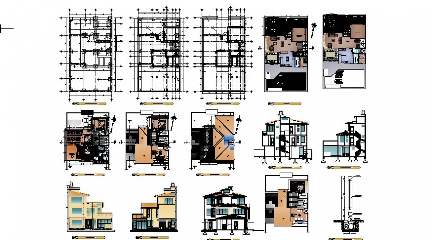 Foundation plan with floor plan of house in auto cad file