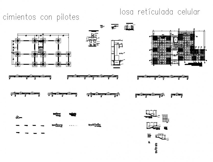 Foundation plan with pile detail 2d view CAD structure layout file in dwg format