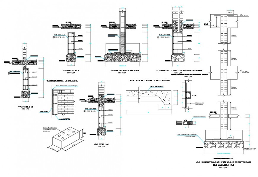 Foundation shoe column and structure plan details for school dwg file