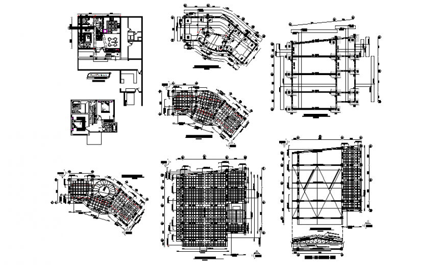 Foundation structure and floor plan details of one family house dwg file