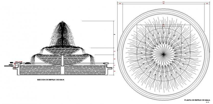 Fountain plan and sectional elevation drawing in dwg file.