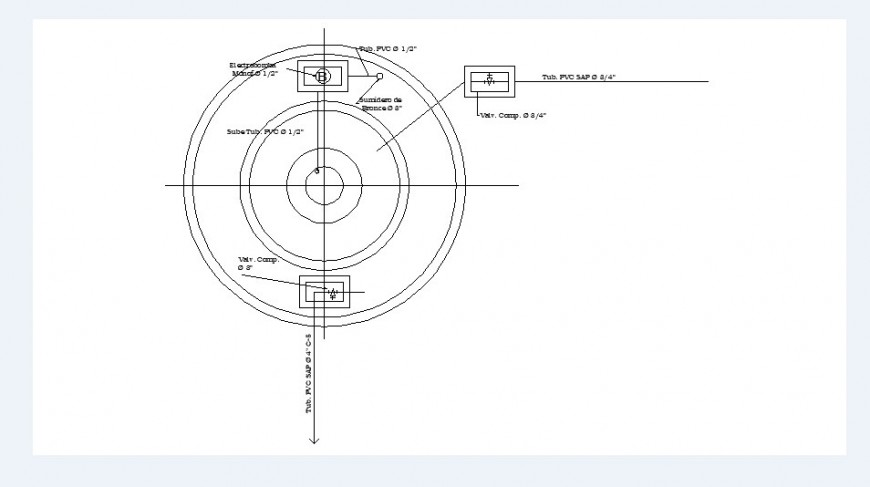Fountain top view plan cad drawing details dwg file