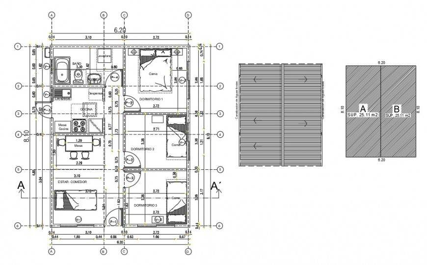 Four bedroom house distribution plan with furniture drawing details dwg file