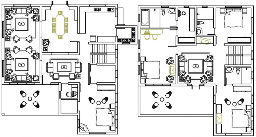 Four bedroom one family house floor plan distribution cad drawing details dwg file