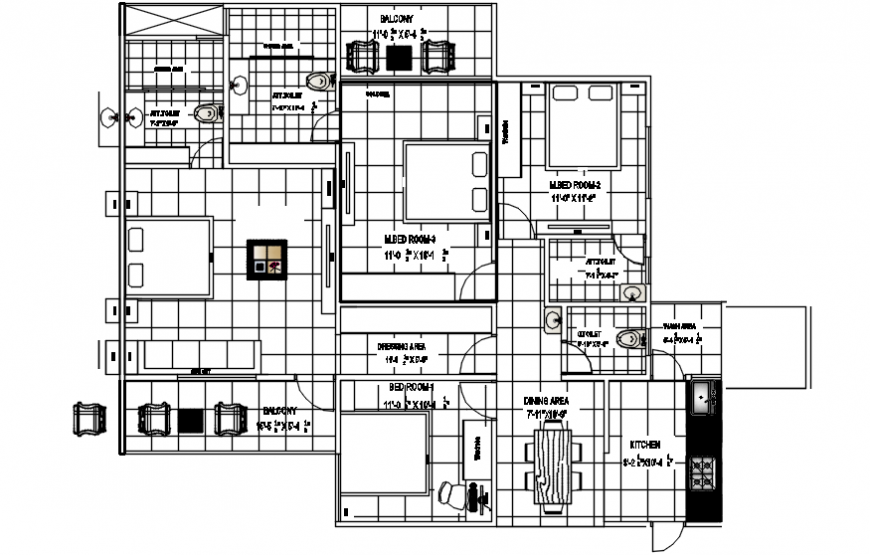 Four bedroom residential house layout plan with furniture drawing details dwg file