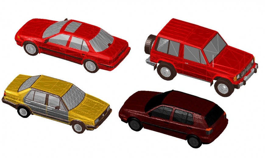 Four family and xuv cars 3d elevation blocks drawing details dwg file