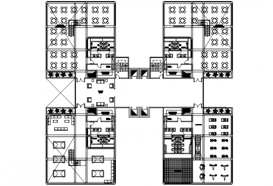 Four floor distribution details of hotel with convention center dwg file
