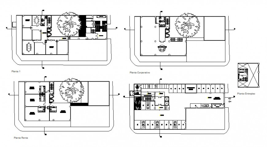 Four floor distribution drawing details of corporate building dwg file