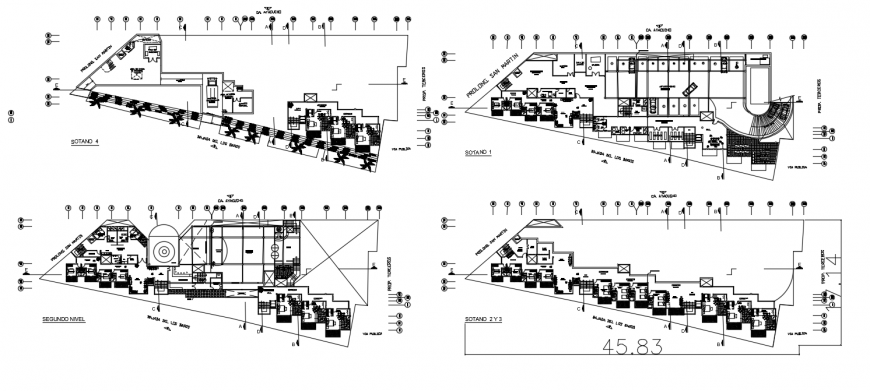 Four floor distribution drawing details of four star hotel dwg file
