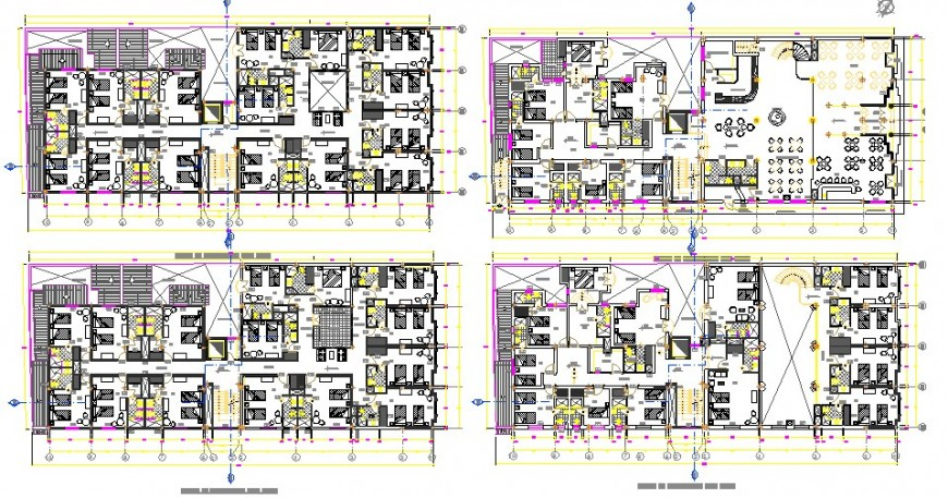 Four floor distribution layout plan details of five star multi-level hotel building dwg file