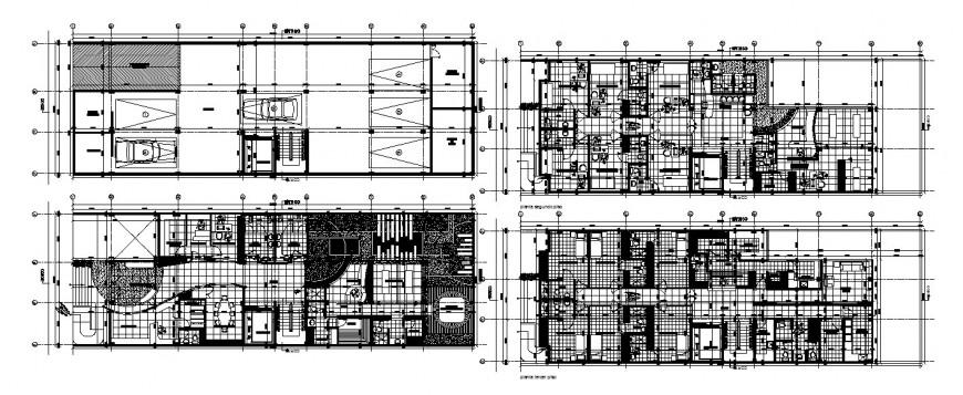 Four floor distribution layout plan details of health center dwg file