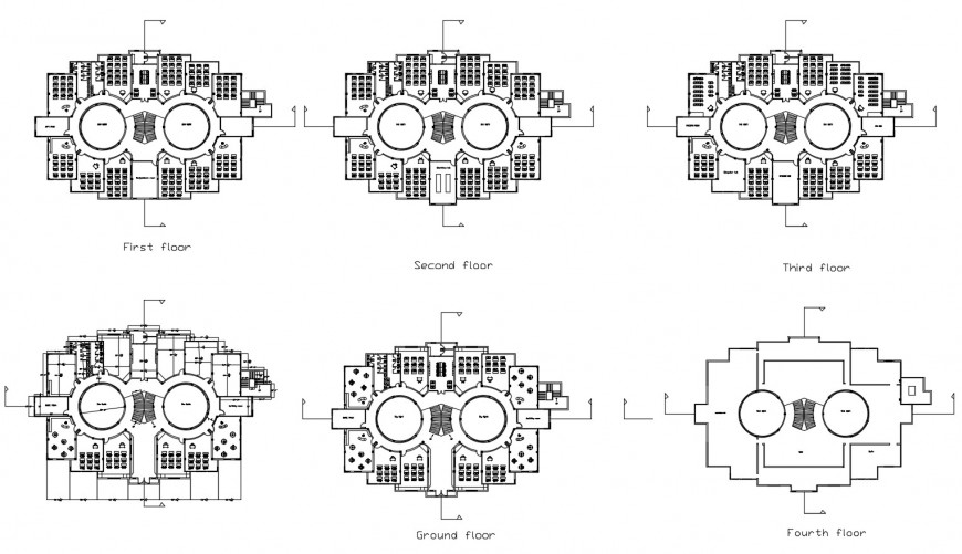 Four floor distribution layout plan details of primary school building dwg file