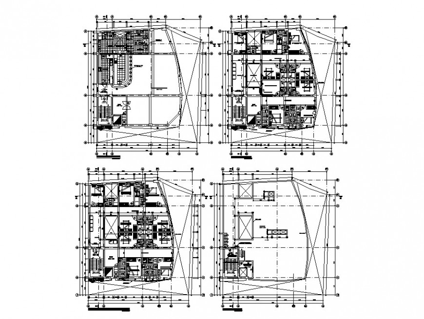 Four floor distribution layout plan details of residential apartment building dwg file
