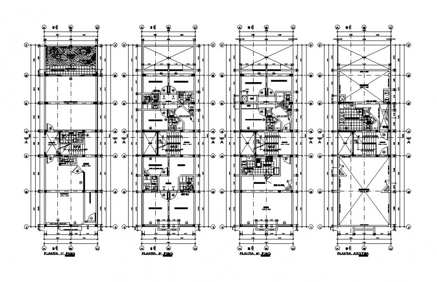 Four floor distribution layout plan details of residential building dwg file