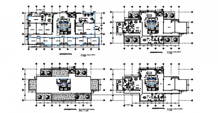 Four floor distribution plan details of commercial and shopping mall building dwg file