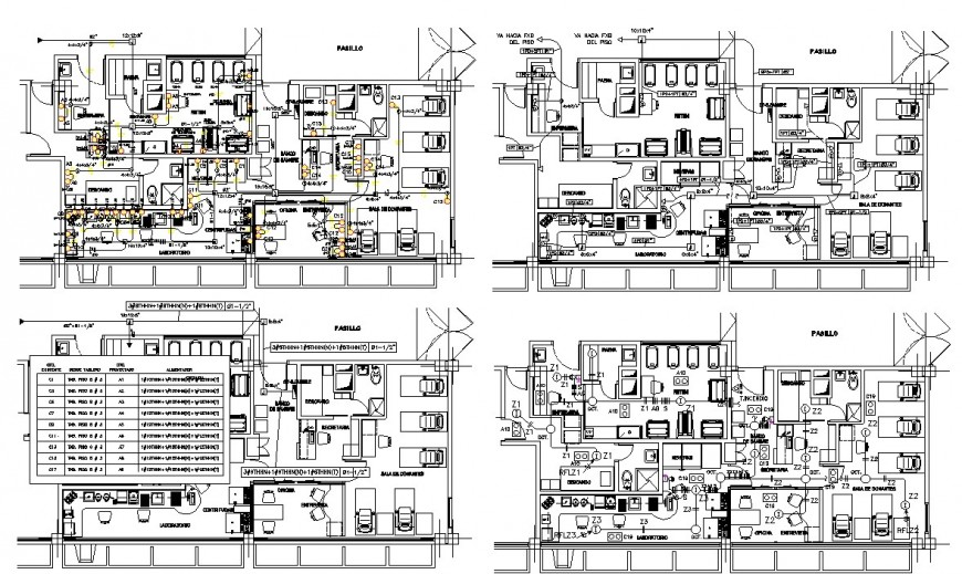 Four floor distribution plan details of hospital with blood bank dwg file