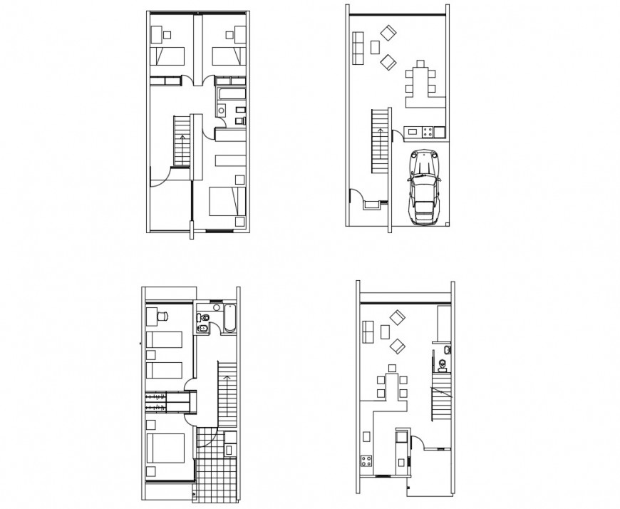 Four floor distribution plan details of one family bungalow dwg file