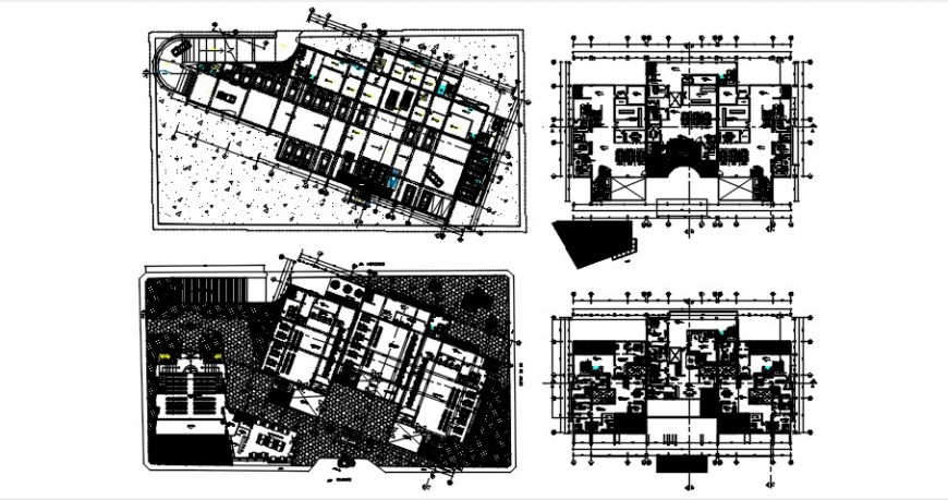 Four floor distribution plan drawing details of bank head office building dwg file