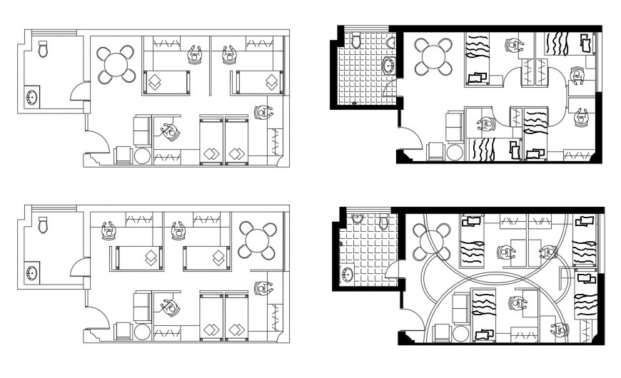Four floor layout plan details of corporate building cad drawing details dwg file