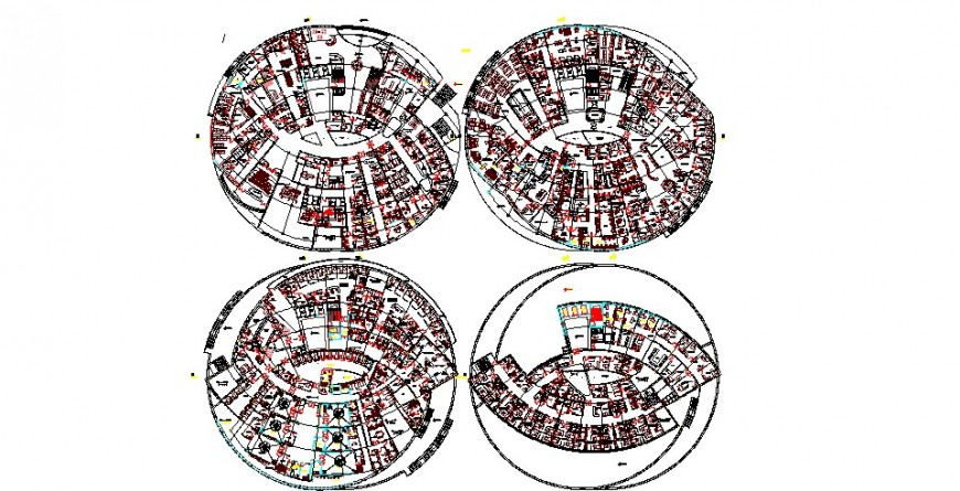 Four floor layout plan details of multi-family apartment building dwg file