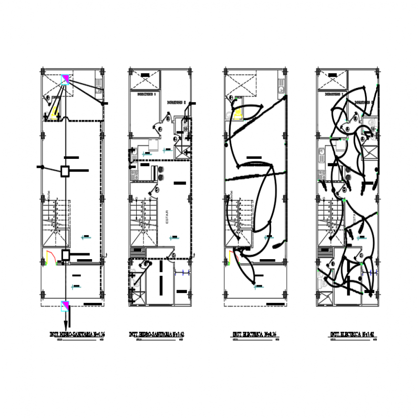 Four floor layout plan details of multi flooring apartment house building dwg file