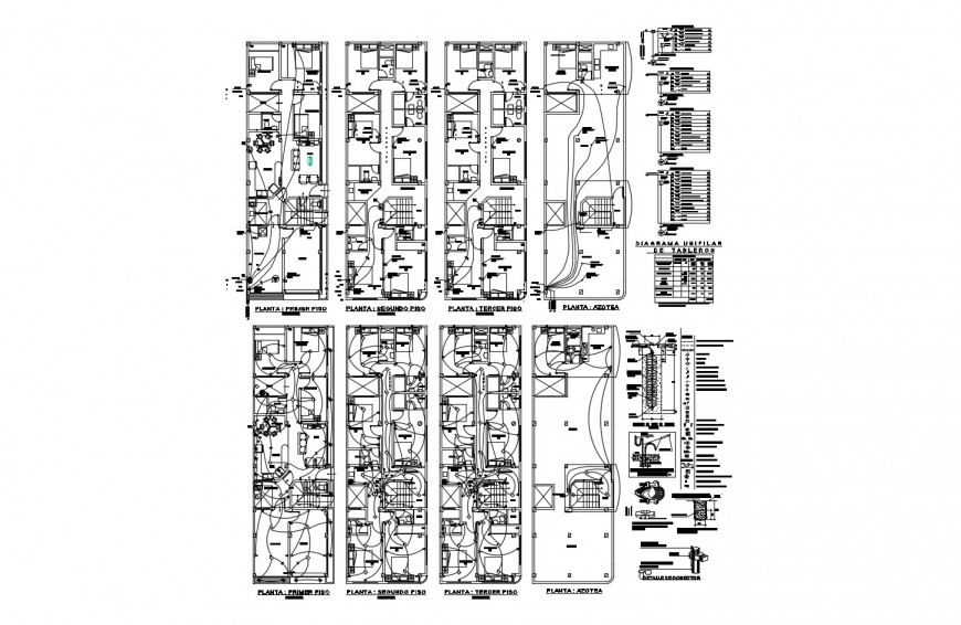 Four flooring apartment building floor plan and electrical layout plan cad drawing details dwg file