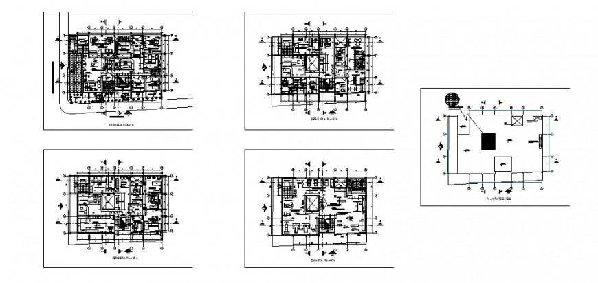 Four floors and terrace distribution plan details of general hospital dwg file