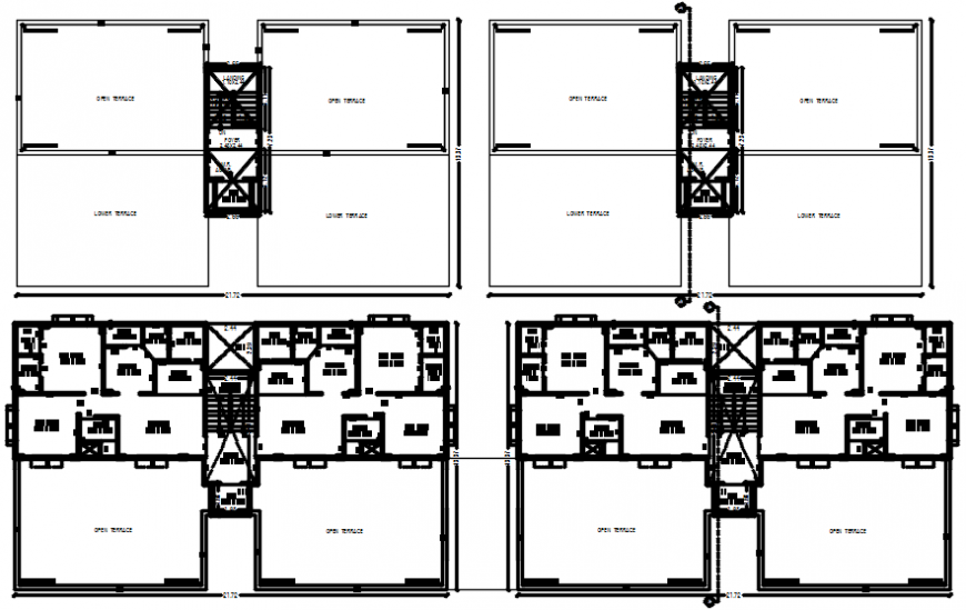 Four floors distribution plan drawing details of apartment building dwg file
