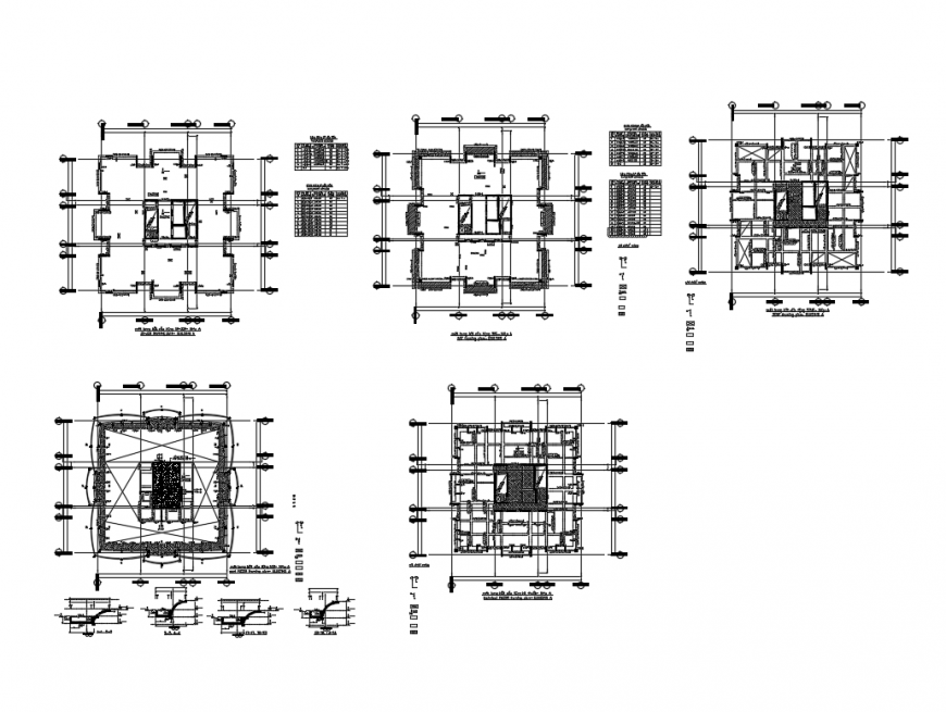 Four floors framing plan details of office building tower cad drawing details dwg file
