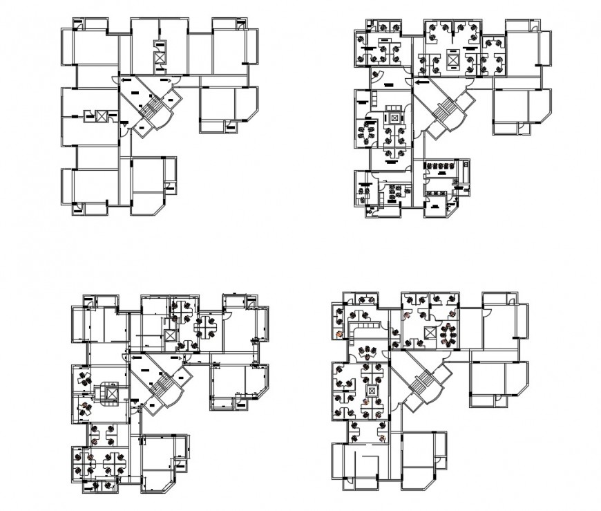 Four floors layout plan details of administration building dwg file