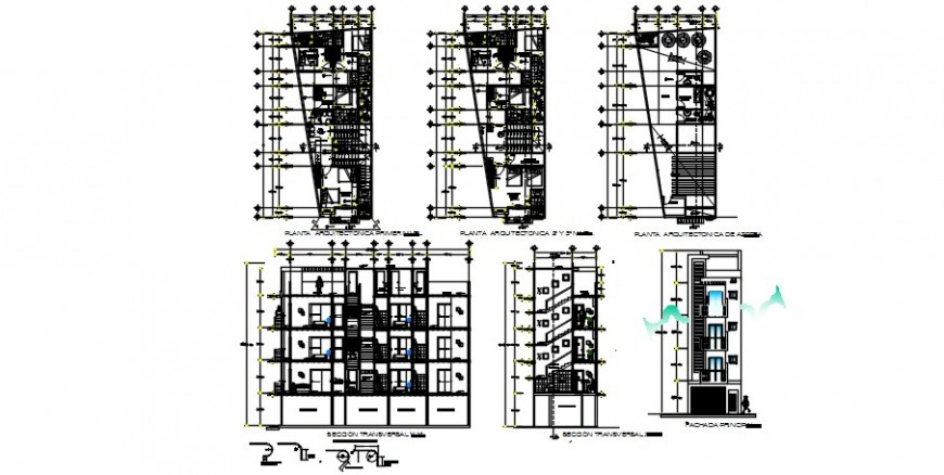 Four level modern hotel elevation, section and floor plan drawing details dwg file