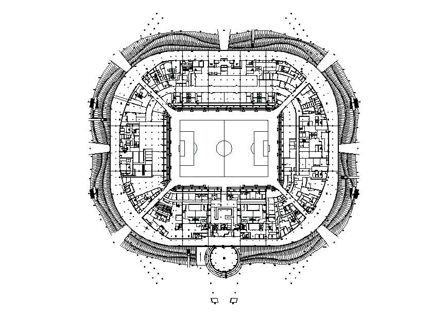Four level sports stadium architecture layout plan details dwg file