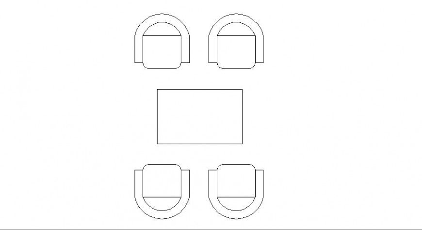 Four seated single family dining table elevation block details dwg file