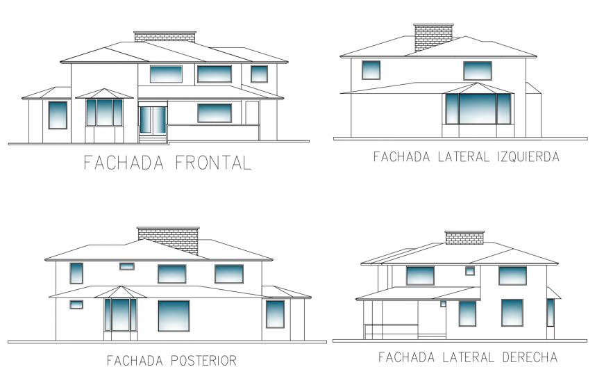 Four sided elevation details of one family residential bungalow dwg file