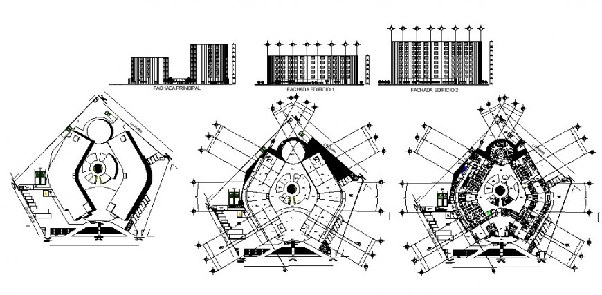 Four star hotel building all sided elevation and floor plan cad drawing details dwg file