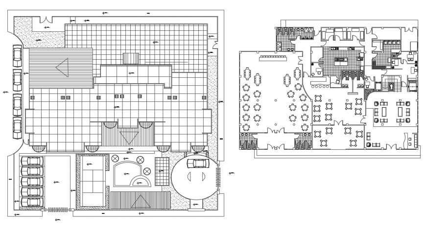 Four star hotel floor distribution layout cad drawing details dwg file
