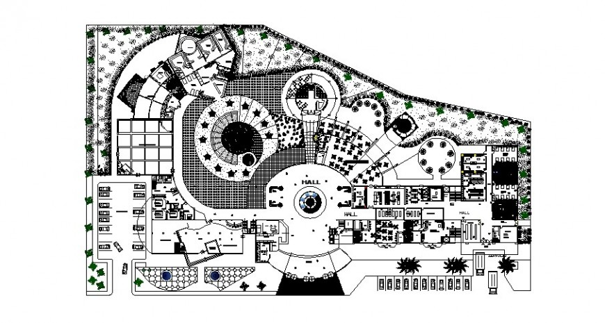 Four star luxuries hotel distribution plan cad drawing details dwg file