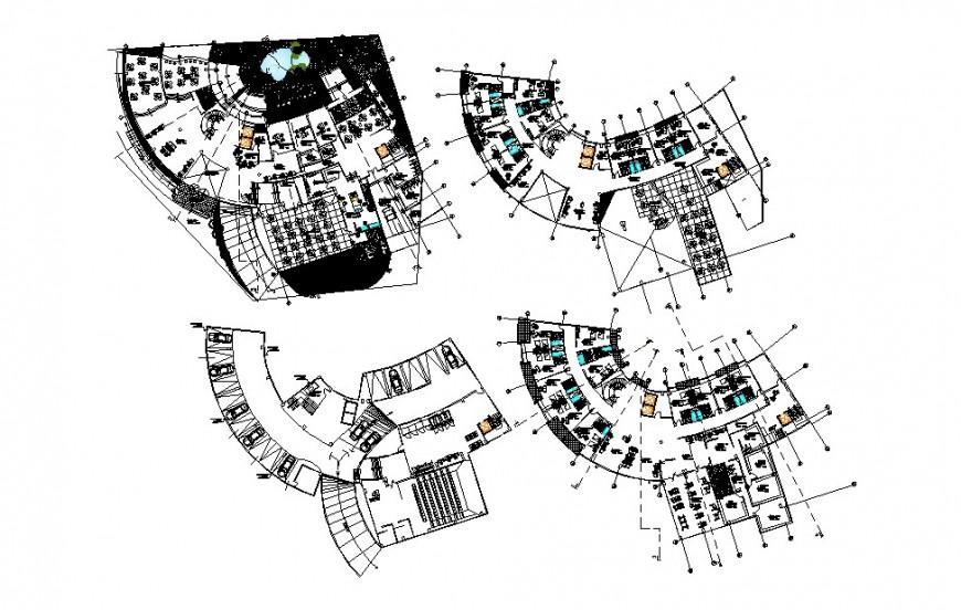 Four star Richard hotel building floor plan distribution cad drawing details dwg file