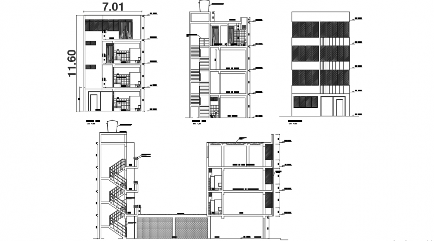 Four story education building elevation and section cad drawing details dwg file