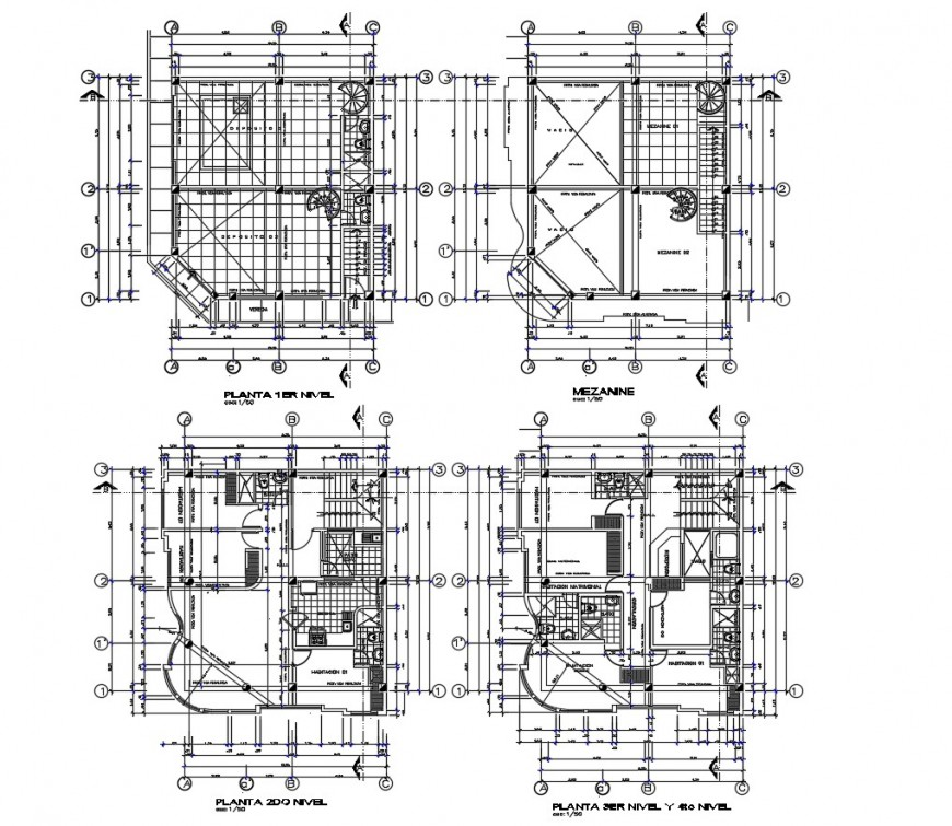 Four story hotel building floor plan distribution auto-cad drawing details dwg file