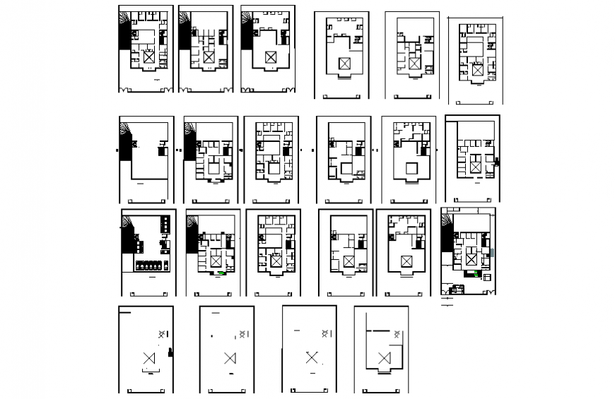 Four story housing apartment building floors and framing plan details dwg file