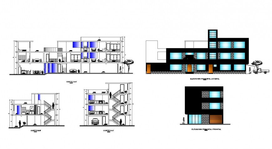 Four story residential apartment building elevation and section drawing details dwg file