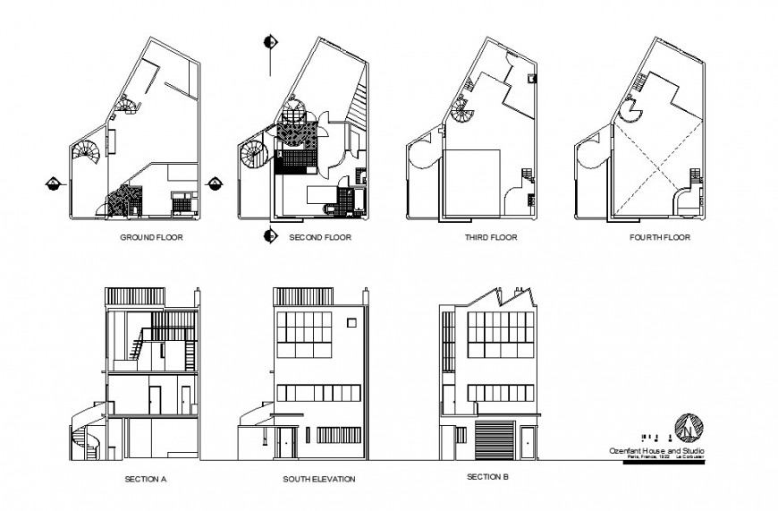 Four story residential building elevation, section and floor plan cad drawing details dwg file