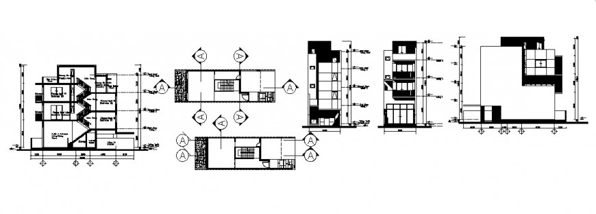 Four story residential building elevation, section and staircase details dwg file